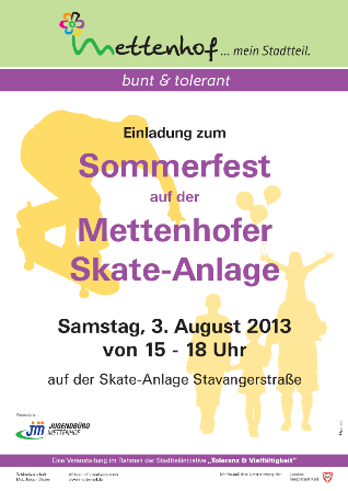 Ankündigung: Sommerfest auf der Skate-Anlage
